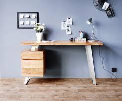 Schreibtisch Reduziert Bürotisch Live Edge Akazie Natur 147x62 Massiv Baumkante 3 Schübe