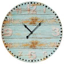 decorative wall clock large round 58cm rustic wooden coastal decor wall clock interior