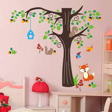forest animals fox and squirrel and birds tree wall decal forest animals wall sticker fox and squirrel wall art birds tree wall decal