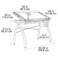 Drafting Table Dimensions Studio Designs Futura Glass Top Craft Table 10050