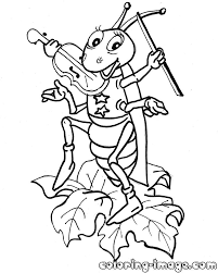 grasshopper with a violin free coloring pages for kids
