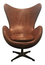 arne jacobsen style cognac leather egg chair chairish