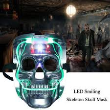 Halloween Motorcycle Costume Silver Light Led Skeleton Skull Rave Mask Halloween Cosplay