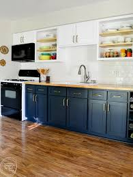 kitchen cabinets with blue doors remodel kitchen on a budget by replacing the doors and