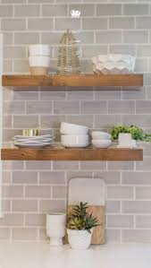 how tile kitchen backsplash diy tutorial sponsored floating natural wood shelves against subway tile backsplash makes perfect matchup for modern farmhouse