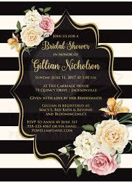 bridal shower invitation black ivory stripes vintage floral