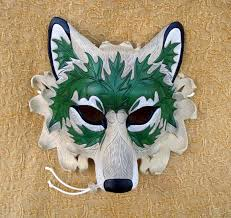 wolf masquerade mask green leaf wolf mask v2 original made leather wolf mask