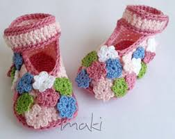 Tiny Flower Crochet Pattern - crochet pattern baby sandals with little puff flowers instant