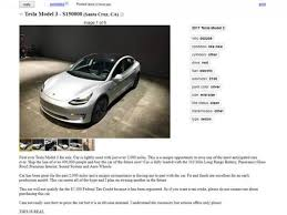 tesla model 3 first used car listed for sale on craigslist for 150000