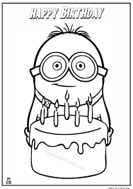 Minion Happy Birthday Coloring Page Happy Coloring Pages