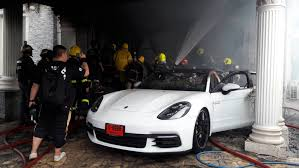 electric porsche panamera bt10m porsche up in flames as battery charging goes wrong
