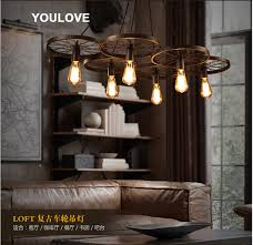 Foyer Pendant Light Fixtures American Country Wheel Pendant Lights Fixture European Industrial