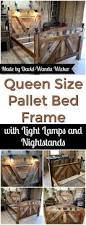 Headboards And Nightstands Diy Pallet Bed Frame With Lighted Headboard And Night Stands