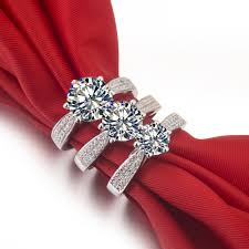 diamond rings aliexpress images Wholesale 3 ct synthetic diamond rings sterling silver wedding jpg