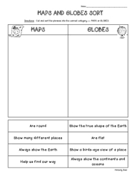 globe and maps worksheet map and globe cut and paste teaching resources teachers pay teachers