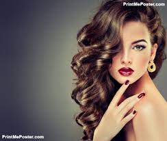 curly hair parlours dubai poster of beautiful model brunette with long curled hair hair