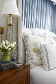 Blue Valance Curtains Light Gray Bed With Blue Valance And Curtains Traditional Bedroom