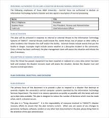 sample disaster recovery plan template 7 download free