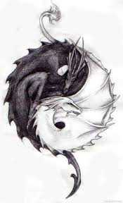 Ying Yang Tattoo Ideas Yin And Yang The Killing Dragon Of Death In Black And The Healing