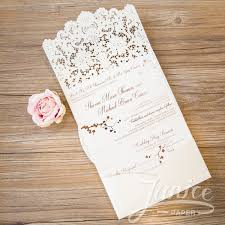 pocket fold laser cut pocket fold wedding invitations graceful tri fold laser