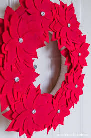 felt poinsettia wreath my name is snickerdoodle