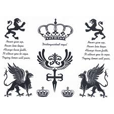 waterproof temporary fake tattoo stickers royal crown lion english