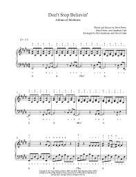 don t stop believin by journey piano sheet advanced level