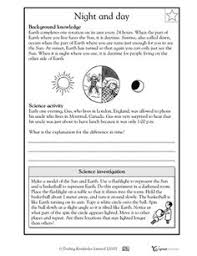 3rd grade 4th grade science worksheets day and night science