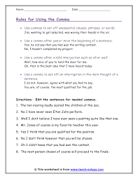 using commas worksheet worksheets
