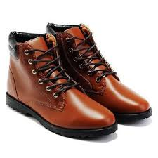 tops quality for men casual pu leather boots lace up black white
