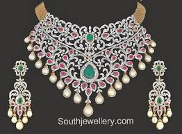 diamond necklace patterns images 400 best temple jewellery multi coloured stone jewellery images jpg