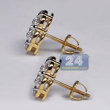 womens stud earrings womens diamond cluster flower stud earrings 14k yellow gold 3 1 ct