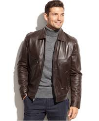 michael michael kors welby shirt collar leather jacket ad cold