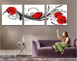 modern wall art decor red rose flower picture printed living room