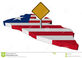 Liberia Map Warning Sign On Liberia Map Flag Stock Images Image 16329224