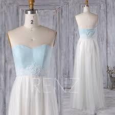 2016 off white soft tulle bridesmaid dress light blue chiffon