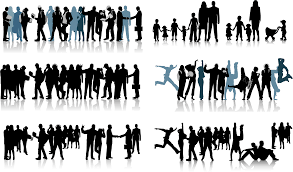 all kinds of people black and white silhouette vector free vector