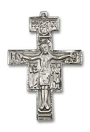 rosary crucifixes san damiano sterling silver rosary crucifix large