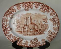 serving platter copeland spode antique china ruins brown tra