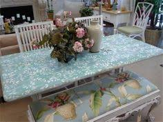 cute console table chalk painted with coastal colors paint in