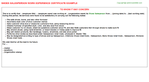 shoes salesperson work experience certificate
