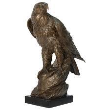 Haus Garten Kaufen Adler Skulptur Bronze 50cm Marmorplatte Große Vogel Tierfigur Deko