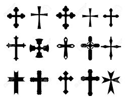 set of religious cross symbols isolated on white royalty free
