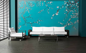 temporary wall paper asian blossom plum almond branches mural casart coverings