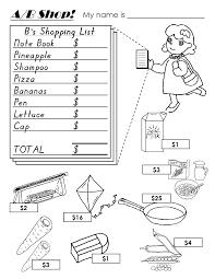 kindergarten worksheets descriptions sizes money weather food