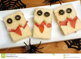 halloween wood background halloween monster sandwiches stock photo image 58491324