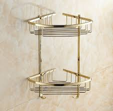 Corner Shelves For Bathroom Wall Mounted Gold Brass Bathroom Corner Shelf Bathroom Shoo