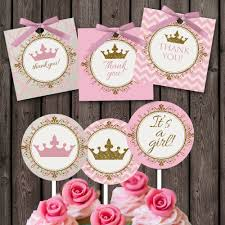 pink gold baby shower cupcake toppers and favor tags