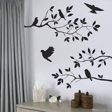 enjoy with band wall decal by creative width 30x9 inches arafen black bird and tree branch leaves wall sticker decal removable material pvc easy to apply durable