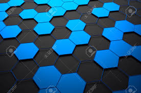 abstract 3d rendering of futuristic surface with hexagons dark
